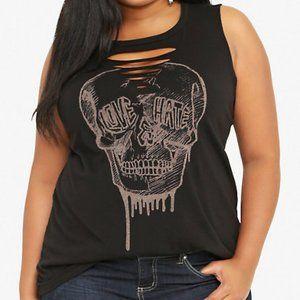 Torrid Slash Front Skull Graphic Tank Love Hate